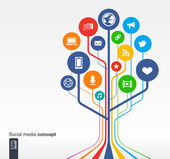 Abstract social media background with lines circles and icons Growth tree concept with earth network computer technology like mail mobile and speech bubble icon Vector illustration