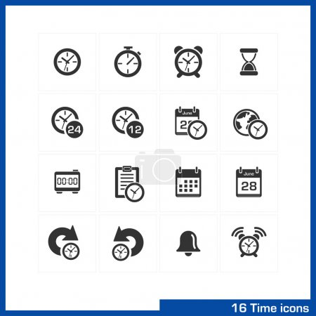 Illustration for Date and time icons set. Vector black pictograms for business, management, web, internet, computer and mobile apps, interface design: clock, alarm, bell, calendar, reminder, organizer symbols - Royalty Free Image