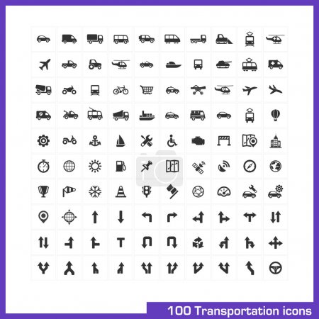 Illustration for 100 transportation icons set. Vector black pictograms for business, industry, navigation, web, internet, computer and mobile apps: car, ship, airplane, helicopter, bicycle, motorcycle, tram symbols - Royalty Free Image
