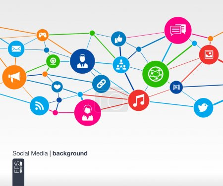 Photo for Flat icons of persons in colored circles for graphic design (vector illustration). Human avatars connected as network for web, social, management, business, internet, computer, mobile, infographics, media. - Royalty Free Image