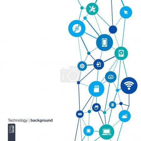 Photo for Abstract technology background with lines, circles and flat icons. Infographic concept with mobile phone, circuit, technology, laptop, cloud computing, usb, pad and router icons. Vector illustration. - Royalty Free Image