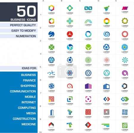 Illustration for Set of 50 icons design elements. Abstract ideas for business company. Finance, communication, eco, technology, science and medical concepts. Pictograms for corporate identity template. Vector - Royalty Free Image