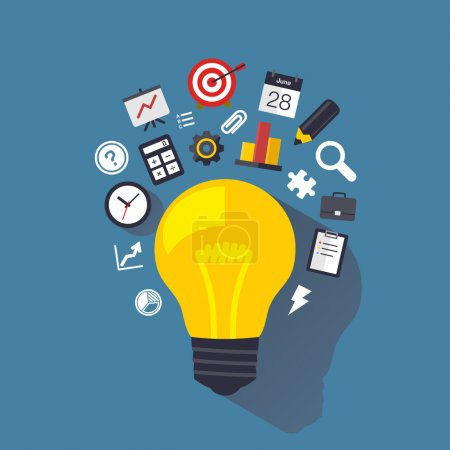 Photo for Light bulb with flat icons. Design element. Background for business, communication, marketing research, strategy, mission, analytics and web design. Vector illustration. - Royalty Free Image