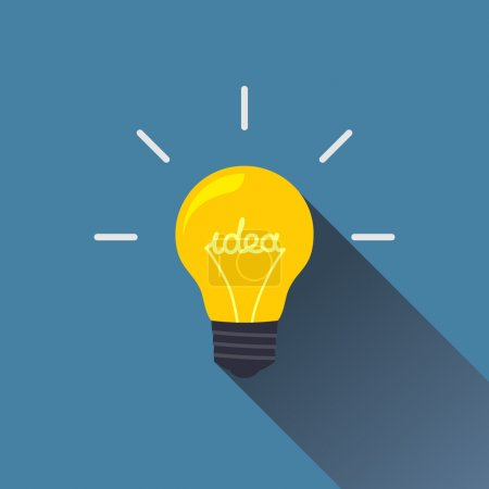 Illustration for Creative idea in light bulb shape as inspiration concept. Vector design element. Flat icon. - Royalty Free Image