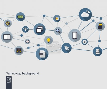 Photo for Abstract technology background with lines, connected circles and flat icons. Network concept with mobile phone, internet, cloud computing, circuit , usb, pad and computer icons. Vector illustration. - Royalty Free Image