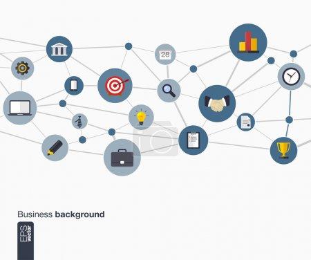 Illustration pour Abstrait affaires avec les lignes, les cercles connectés et les icônes plats. concept de réseau d'entreprise, communication, marketing de recherche, stratégie, mission, analytique et web design. Vector. - image libre de droit