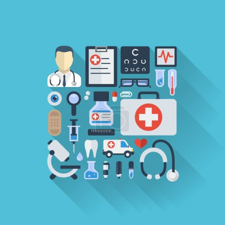 Illustration for Abstract medicine background with medical, health, healthcare, doctor, pills, cross symbols. - Royalty Free Image