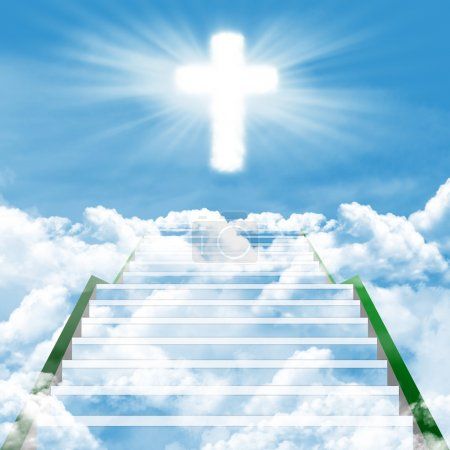 Photo for Illustration of a long, stairway leading to the heaven - Royalty Free Image
