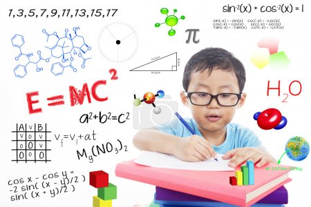 Photo for Portrait of genius boy trying to solve formula - Royalty Free Image