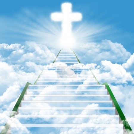 Photo for Illustration of a ladder leading upward to heaven - Royalty Free Image