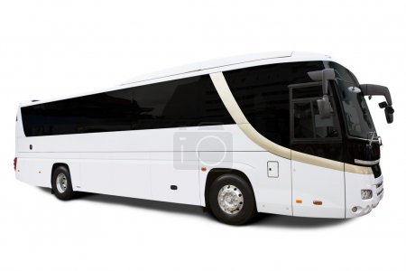 Photo for Bus travel isolated over white bringing tourists - Royalty Free Image