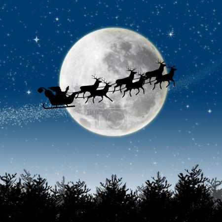 Photo for Illustration of Santa Claus and his reindeer sleigh in silhouette against a blue winter landscape - Royalty Free Image