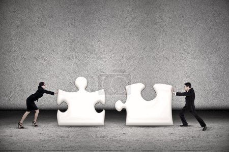 Two business are working together to put two puzzles in order to succeed