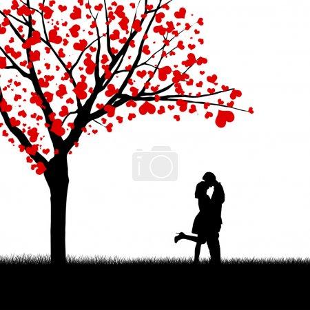 Photo pour Silhouette de baiser couple à côté de l'arbre d'amour - image libre de droit