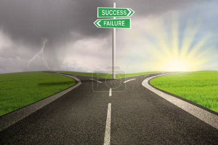 Photo for Road way to success or failure on stormy background - Royalty Free Image