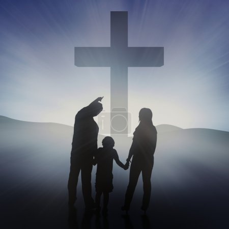Family at the bright Cross