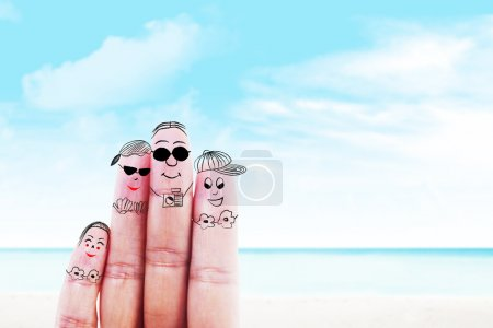 Photo for Fingers gesturing as family members that travels at the beach - Royalty Free Image