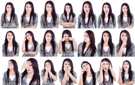 Photo pour Expressions faciales multiples d'une belle femme isolée sur blanc - image libre de droit