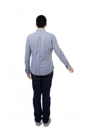 Back view of young businessman