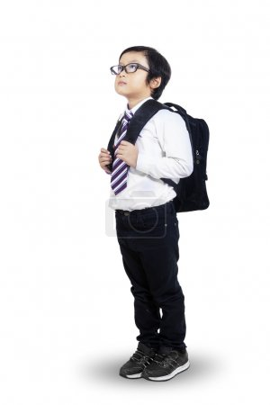 Little student looking at copyspace