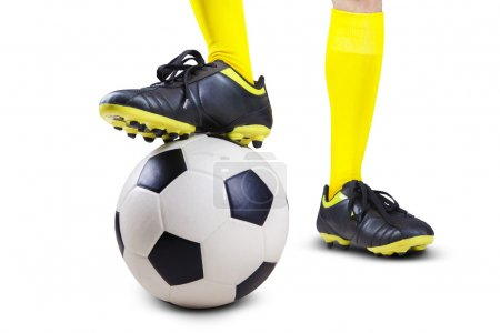 Soccer ball with player feet 1