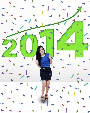 Businesswoman celebrating a new year