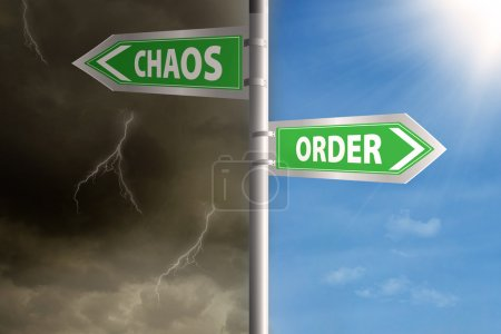 Photo for Roadsign to chaos and order with cloudy sky and clear sky - Royalty Free Image