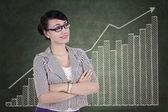 Profesionální obchodnice s obchodní graf