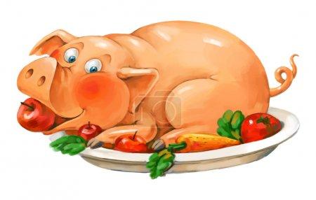 Photo pour Assiette de porc. Drôle de cochon couché sur une assiette. Gardez une pomme dans sa bouche. Dessin à main levée - image libre de droit