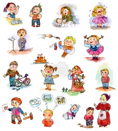 Photo for Funny kids on a white background. Freehand drawing. Child's picture book - Royalty Free Image