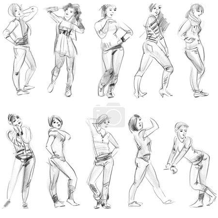 Bleistiftskizzen von Figuren