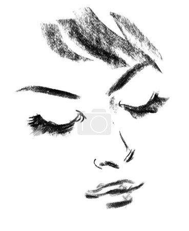 Portrait of beautiful woman, sketch
