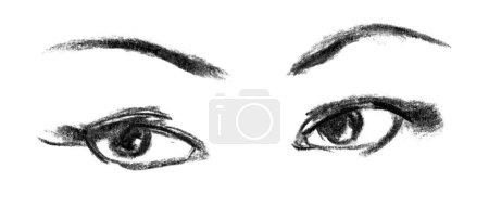 Photo pour Close-up de le œil féminin. Portrait de la belle jeune fille. dessinées à la main. dessin au crayon - image libre de droit