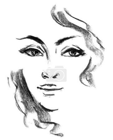 Portrait of beautiful girl. Female silhouette. Sketch