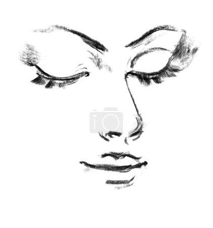 Portrait of beautiful woman. Female silhouette. Sketch