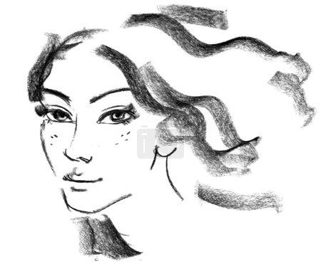 Photo pour Silhouette féminine. Portrait de la belle jeune fille. dessinées à la main. dessin au crayon - image libre de droit
