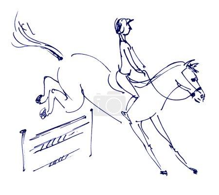 Photo pour Sports équestres - Saut d'obstacles. jockey monté sur un cheval. dessinées à la main - image libre de droit
