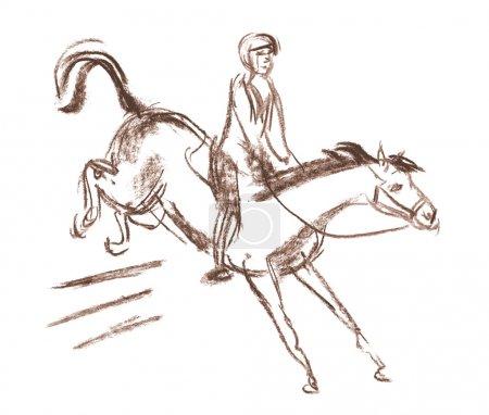 Photo pour Cheval et jockey équestre racing. cheval saute par-dessus un obstacle. dessinées à la main - image libre de droit