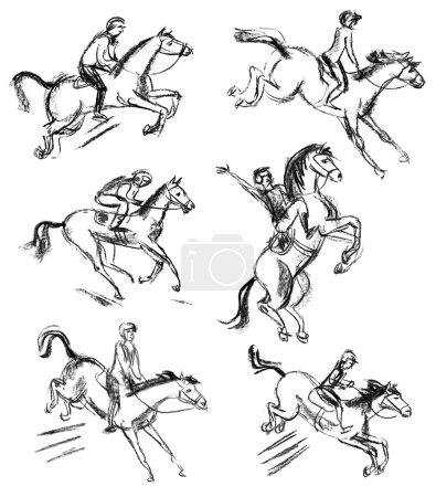 Photo pour Derby, la sport équestre cheval et le cavalier. ensemble. dessinées à la main. phase du mouvement - image libre de droit