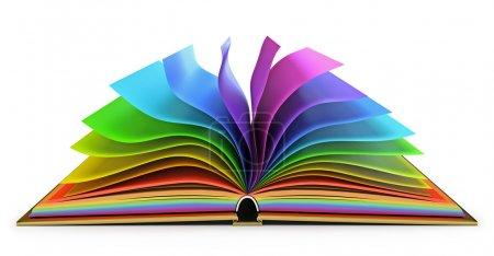 Photo for Open book with colorful pages. White background. 3d render - Royalty Free Image