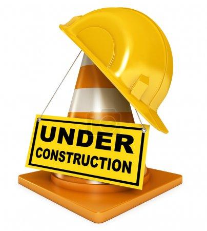 Photo pour Casque pour ouvrier constructeur. Cônes de circulation. Panneau en construction. Icône isolée sur fond blanc. 3d rendu - image libre de droit