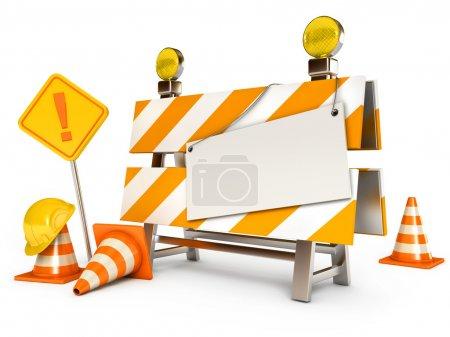 Photo pour Barrière en construction. Feuille blanche. Cônes de circulation. Panneau routier. Casque de construction. Isolé sur fond blanc. 3d rendu - image libre de droit