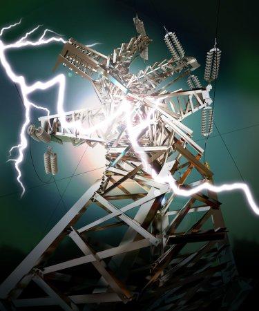 Foto de Línea de transmisión eléctrica. rayo. accidente. render 3D - Imagen libre de derechos