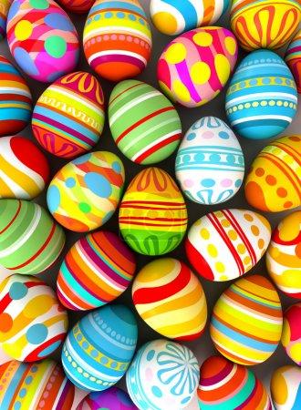Photo pour Joyeux Pâques. Fond avec des œufs peints. Illustration conceptuelle. 3d rendu - image libre de droit