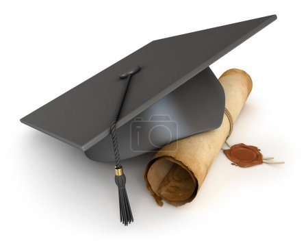 Photo for Graduation cap and diploma. Conceptual illustration. Isolated on white background. 3d render - Royalty Free Image