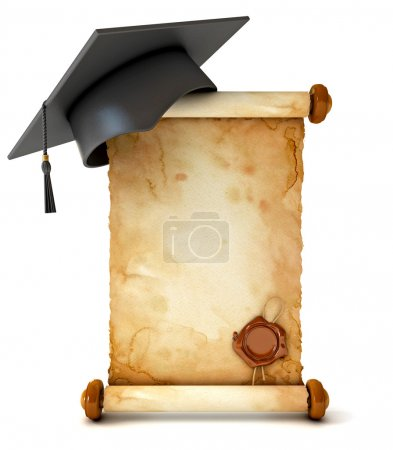 Graduation cap and diploma. Unfurled an ancient scroll with wax