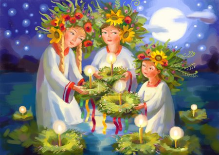 Photo for Summer solstice. Midsummer Day. Ivan Kupala. Pagan holiday. Hand-drawing - Royalty Free Image