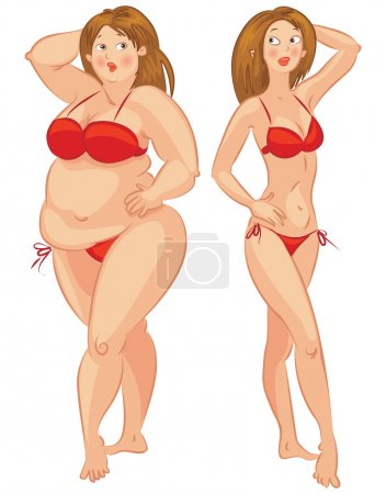 Illustration for Fat and thin woman, vector illustration - Royalty Free Image