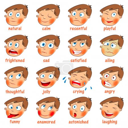 Illustration for Emotions. Cartoon facial expressions set. ( natural, calm, resentful, playful, frightened, sad, satisfied, ailing, thoughtful, jolly, crying, angry, funny, enamored, astonished, laughing ) Hand-drawn - Royalty Free Image