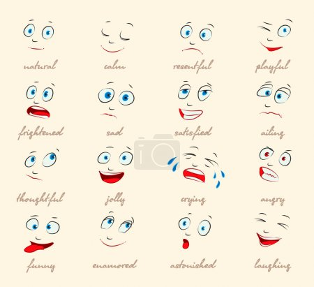 Illustration for Emotions. Cartoon facial expressions set. ( natural, calm, resentful, playful, frightened, sad, satisfied, ailing, thoughtful, jolly, crying, angry, funny, enamored, astonished, laughing ) vector - Royalty Free Image